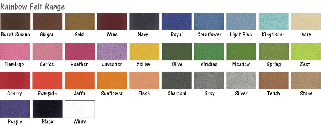 Rainbow Felt colour range