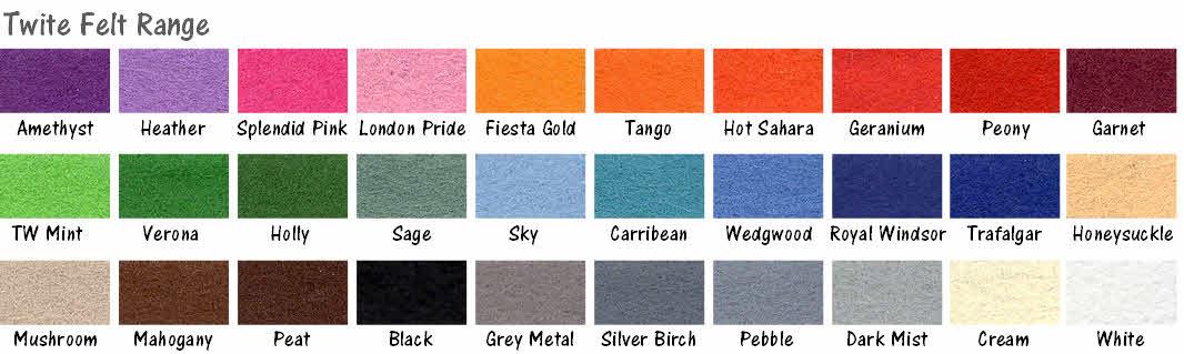 twite felt colour range for notice boards