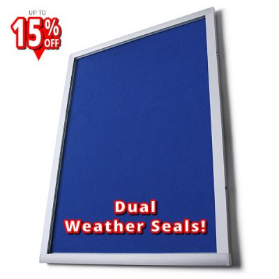 Apollo external felt notice board with blue felt
