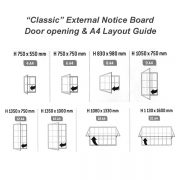 classic external notice board sizes diagram