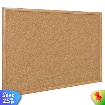 cork notice board with wood frame