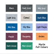 available felt colours for the 3 sided rotating notice board