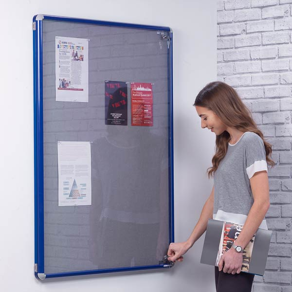 blue frame tamperproof notice board