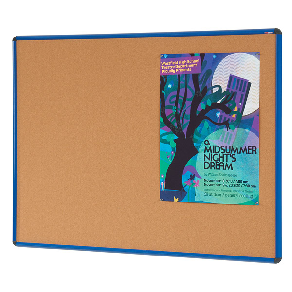 blue frame cork notice pin board