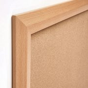 beech & black wood frame cork notice board corner