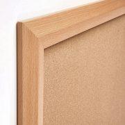 beech & black wood frame cork notice board corner