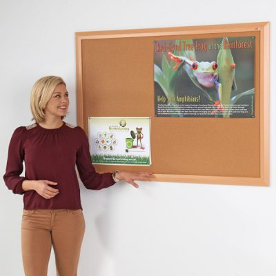 Beech & Black Wood Framed Cork Notice Board