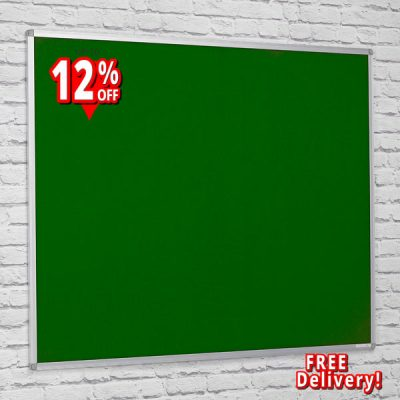 felt notice board with aluminium frame with green felt