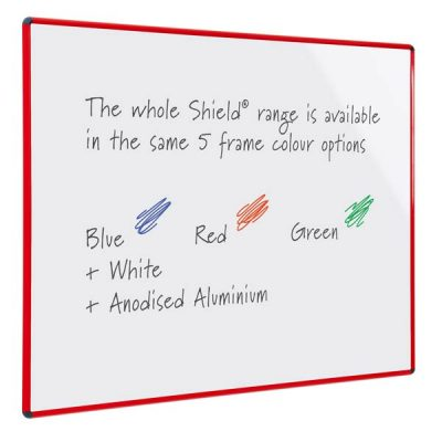 Coloured frame dry wipe whiteboards in Red, Green, blue, white & anodised