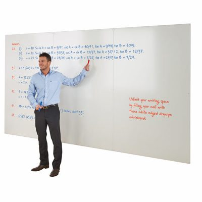 frameless whiteboards with white or coloured edge
