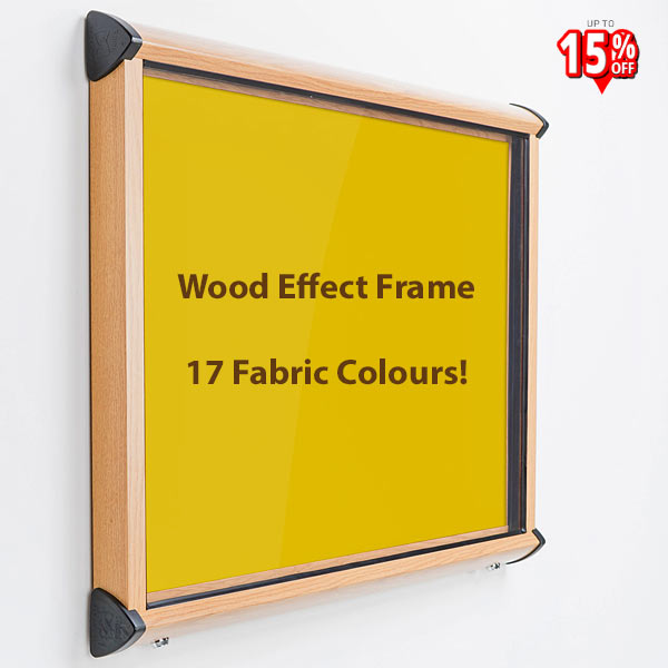 Defender external Notice board with wood effect aluminium frame and yellow fabric