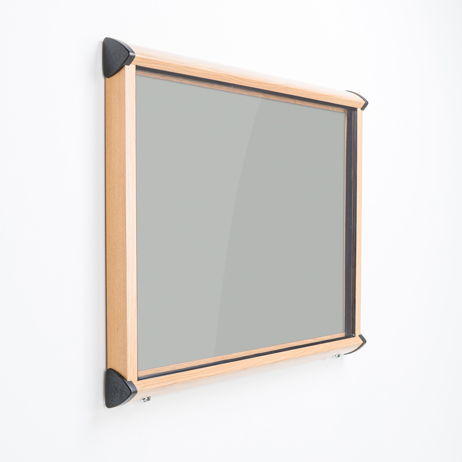 Wood Frame External Notice Board Wood Effect Aluminium Frame