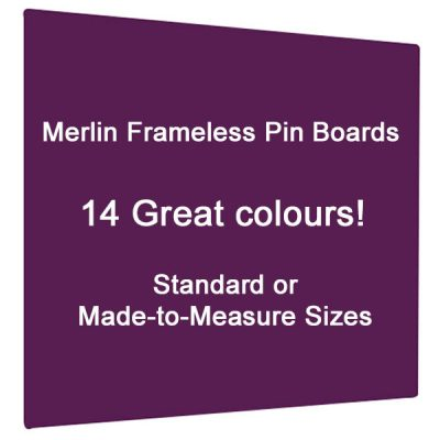 Merlin Frameless notice board in 14 colous