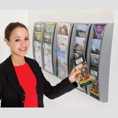 Grey Plastic Leaflet Dispenser