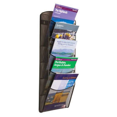 Mesh wall mount brochure dispenser