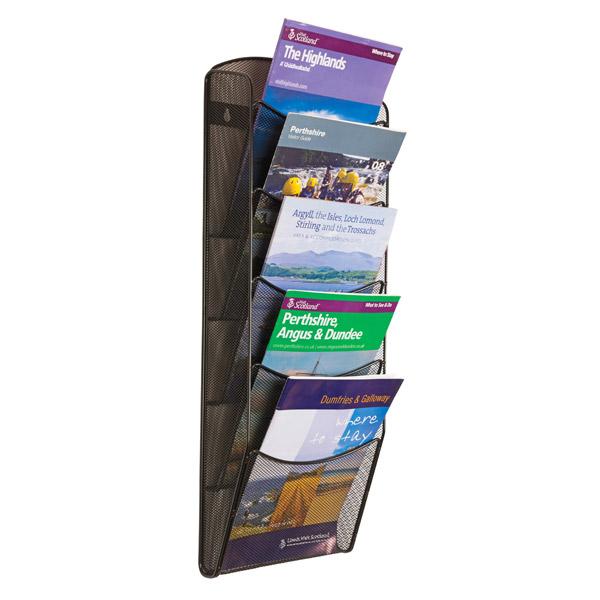 Mesh wall mount brochure dispenser