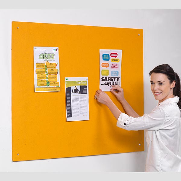 Unframed felt notice boards in yellow
