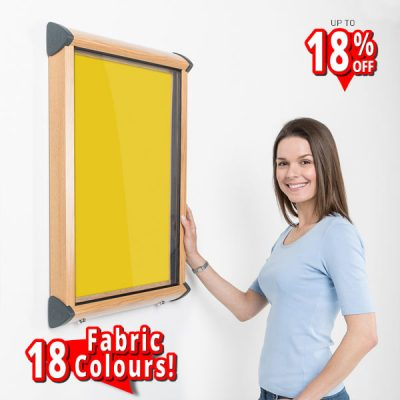 internal lockable notice board wood effect aluminium frame