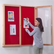 real beech wood frame lockable notice board with red felt