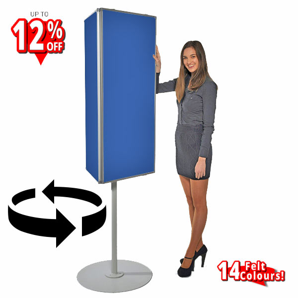 3-sided rotating notice board freestanding on circular base