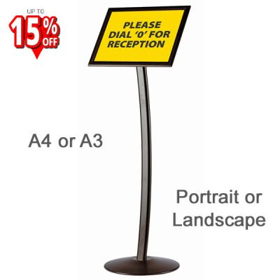 busygrip curved poster stand in black with metal base