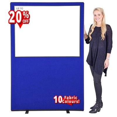 economy Glazed Office Partition Screens with a choice of 10 fabric colours