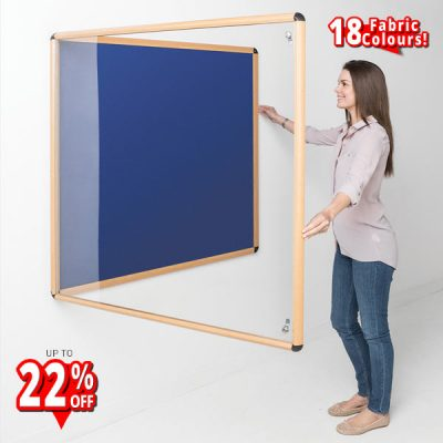 indoor tamperproof notice board with wood effect frame