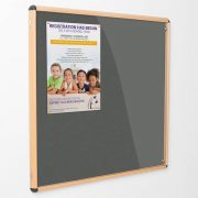 indoor tamperproof notice board with wood frame