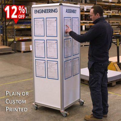 mobile 4 sided whiteboard plain or custom printed