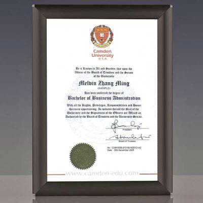 A4 certificate frame in black finish
