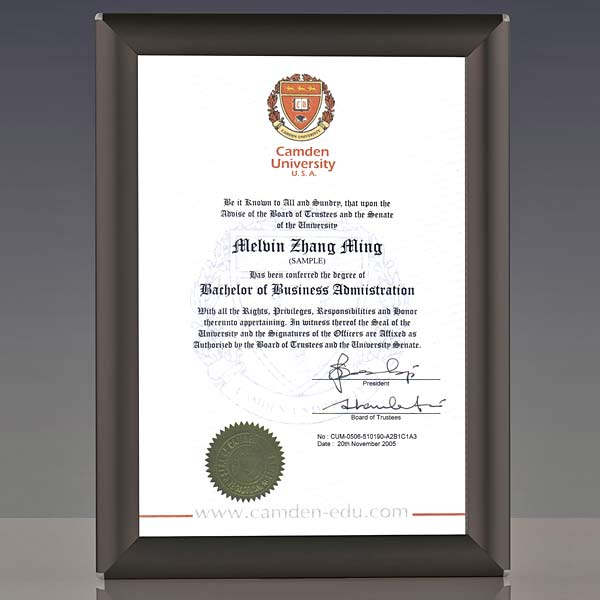 A4 certificate frame in black finish