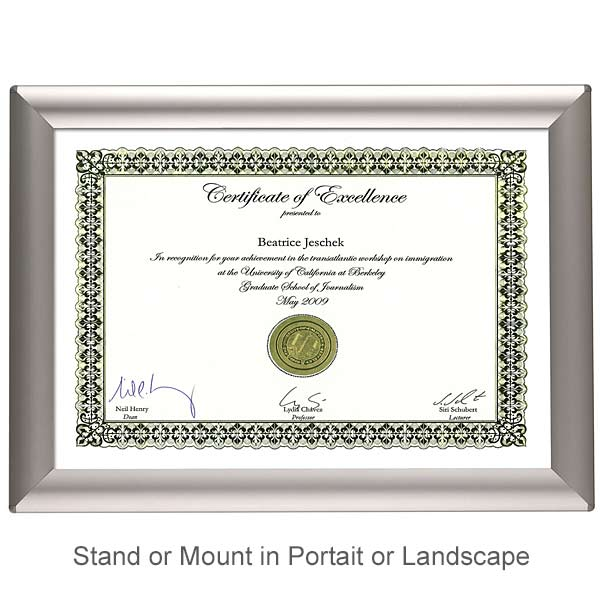 A4 Certificate Frame In Silver Aluminium Wall Mount Or Freestanding