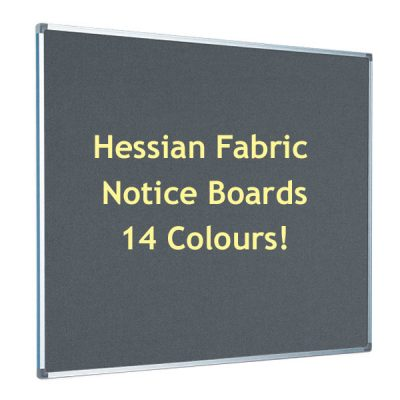hessian notice boards in 14 colours with aluminium frame