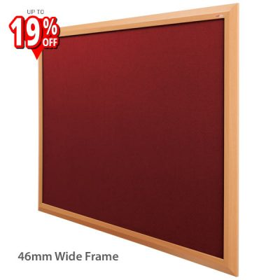 Beech effect wood frame notice board with Burgundy Felt