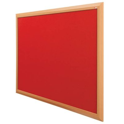 Beech effect wood frame notice board with red felt