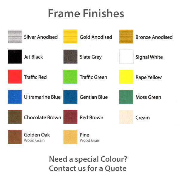 Sirius External notice board frame colours