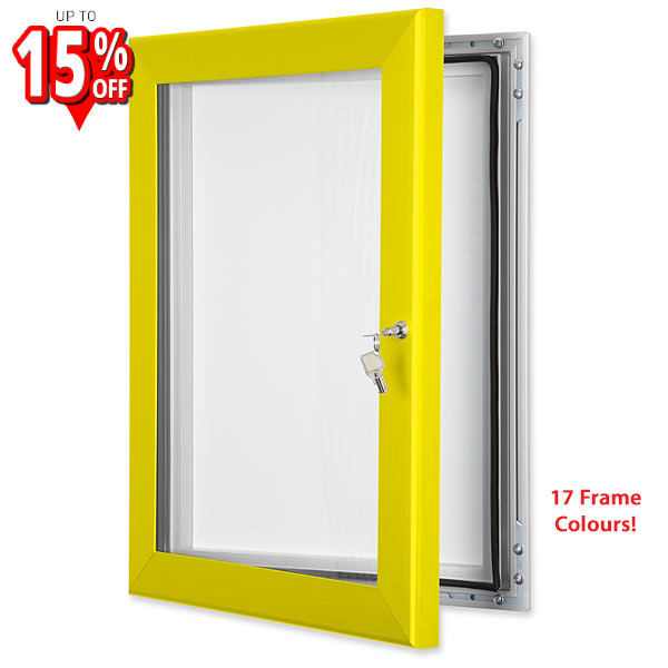 sirius magnetic external notice board with yellow frame