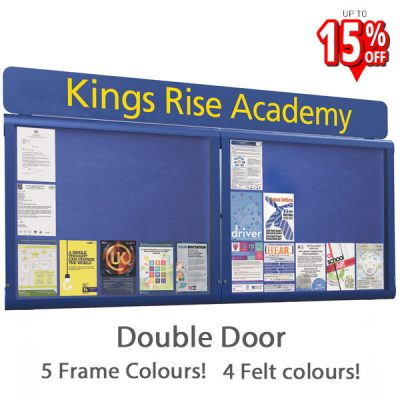 WeatherShield External Notice Board double door printed Header
