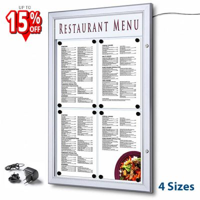 LED Illuminated outdoor menu case