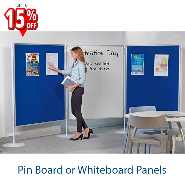 freestanding pin board whiteboard pole and panel system