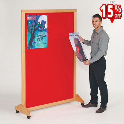 mobile wood framed notice board in Beech