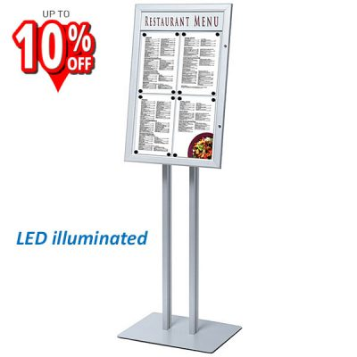 Freestanding illuminated menu case