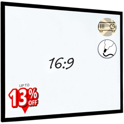 Projection whiteboards with black wood frame
