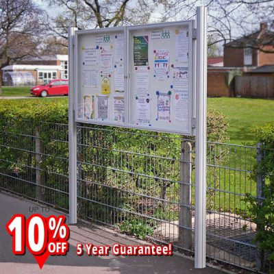 1000 Post Mounted external notice board magnet display silver aluminium frame