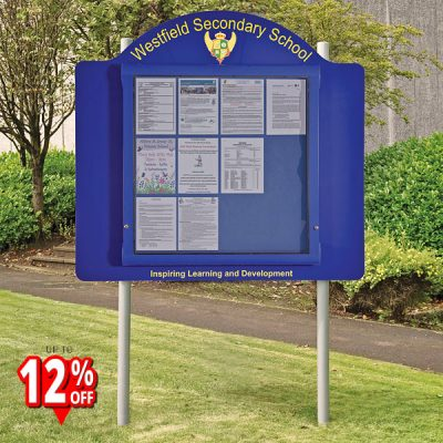Post Mounted External Notice Board Rounded Header Panel