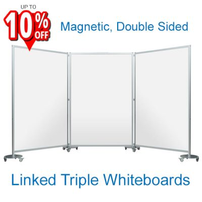 3-Panel Mobile Whiteboard Maxi System