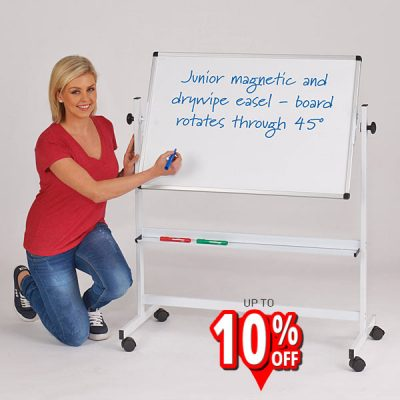 Junior Tilting Mobile Whiteboard Easel in white