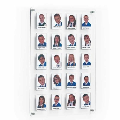Wall mount Crystal staff and Class Board with 20 photo Pockets