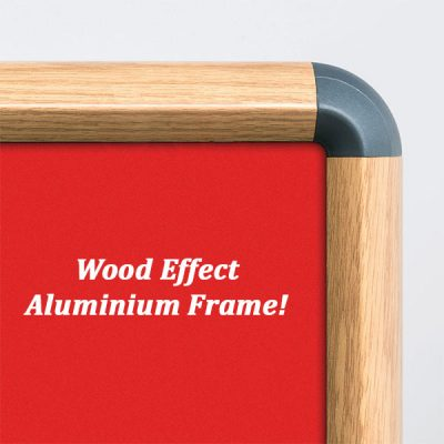 Wood Effect Aluminium Framed Notice Board with Red Nyloop fabric