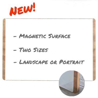 Wood Backed Unframed Whiteboard magnetic surface designer style